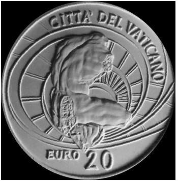 Monetazione Aurea da 20 €, verso di modello in gesso. Committente: Città del Vaticano, 2008