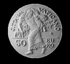Monetazione Aurea da 50 €, verso di modello in gesso. Committente: Città del Vaticano, 2016.