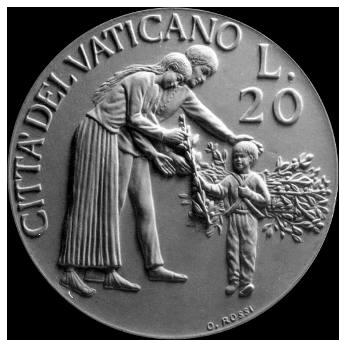 Moneta da Lire 20, monetazione ordinaria, recto di modello in gesso. Committente: Città del Vaticano, 1997
