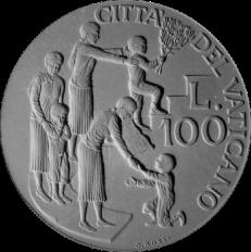 Moneta da Lire 100, monetazione ordinaria, recto di modello in gesso. Committente: Città del Vaticano, 1997
