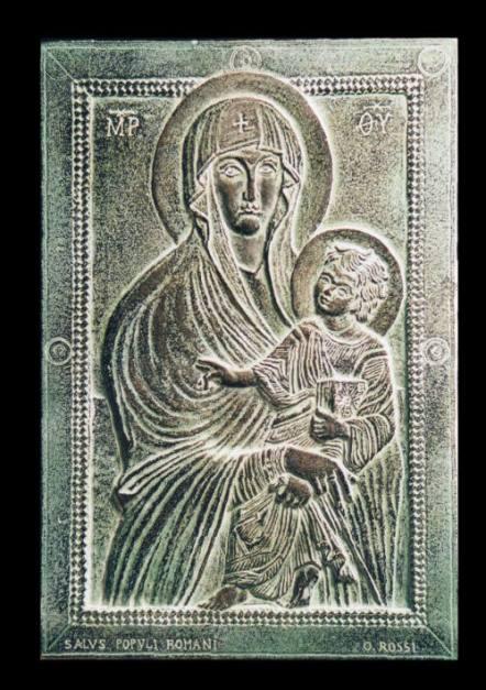"""Copia dell'icona """"Salus Populi Romani"""" situata nella Basilica di S. Maria Maggiore - Roma. modellata in gesso e realizzata in bronzo patinato 16 cm x 11 cm. Committente privato"""