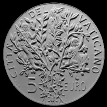 Moneta da 5€, verso di modello in gesso. Committente: Città del Vaticano, 2005