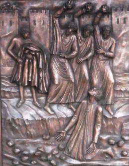 Lapidazione di Santo Stefano. Pannello bronzeo in altorilievo eseguito in occasione dell'Anno Paolino per la porta della Basilica Papale di S.Paolo Fuori le Mura. Committente: Basilica Papale di S. Paolo Fuori le Mura, Roma, 2009
