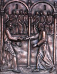 Incontro dei Santi Pietro e Paolo. Pannello bronzeo in altorilievo eseguito in occasione dell'Anno Paolino per la porta della Basilica Papale di S.Paolo Fuori le Mura. Committente: Basilica Papale di S. Paolo Fuori le Mura, Roma, 2009