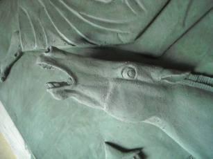 Particolare dell'illuminazione di San Paolo. Modellazione in plastilina eseguita in occasione dell'Anno Paolino per la porta della Basilica Papale di S.Paolo Fuori le Mura. Committente: Basilica Papale di S. Paolo Fuori le Mura, Roma, 2009