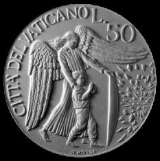 Moneta da Lire 50, monetazione ordinaria, recto di modello in gesso. Committente: Città del Vaticano, 1997