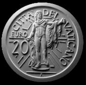 Monetazione Aurea da 20 €, verso di modello in gesso. Committente: Città del Vaticano, 2010