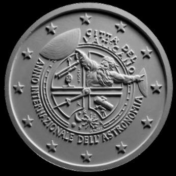 Moneta da 2 € per l'Anno Internazionale dell'Astronomia, verso di modello in gesso. committente: Città del Vaticano, 2009