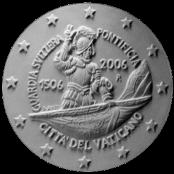Moneta da 2 € per il V Centenario della Guardia Svizzera, verso di modello in gesso. Committente: Città del Vaticano, 2006