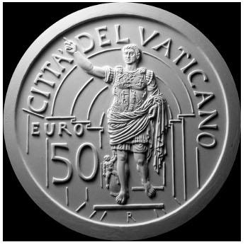 Monetazione Aurea da 50 €, verso di modello in gesso. Committente: Città del Vaticano, 2010