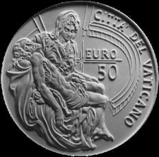 Monetazione Aurea da 50 €,verso di modello in gesso. Committente: Città del Vaticano, 2008