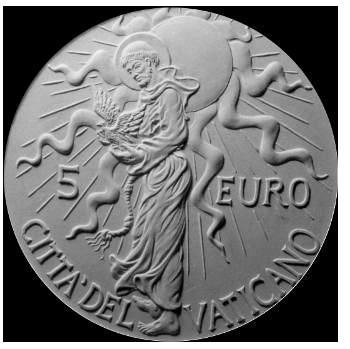 Moneta da 5 €, verso di modello in gesso. Committente: Città del Vaticano, 2007