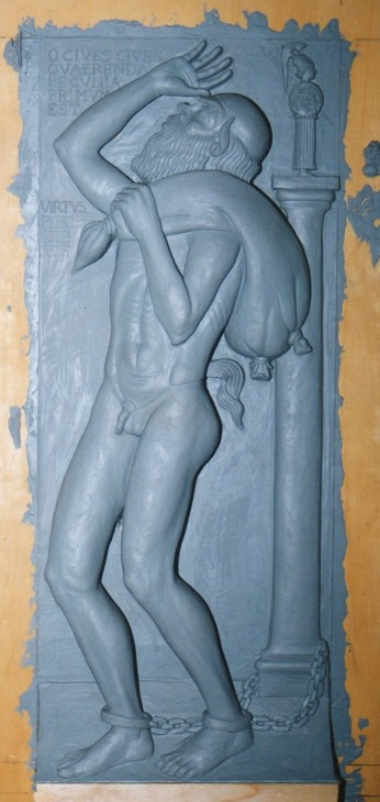 Particolare in plastilina dei pannelli realizzati in resina finto marmo per il Museo Nazionale Romano di Palazzo Massimo alle Terme, Roma. Committente: Ministero dei Beni Culturali