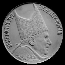 Monetazione Aurea da 20 € e 50 €, recto di modello in gesso. Committente: Città del Vaticano, 2008