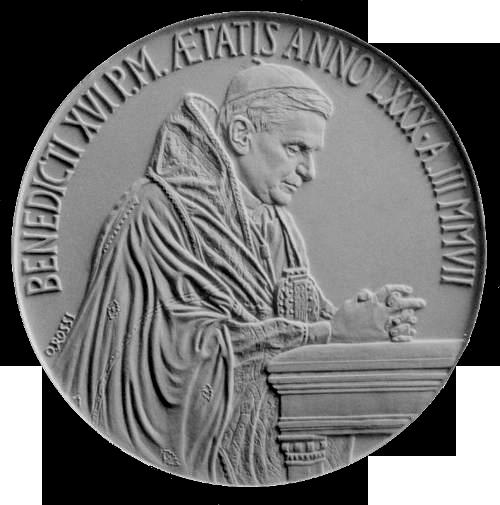 Moneta da 5€, recto di modello in gesso. Committente: Città del Vaticano, 2007