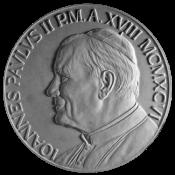 Monetazione ordinaria, recto di modello in gesso. Committente: Città del Vaticano, 1997