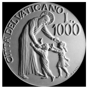 Moneta da Lire 1000 in argento, monetazione ordinaria, verso di modello in gesso. Committente: Città del Vaticano, 1997