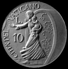 Moneta da Lire 10, monetazione ordinaria, recto di modello in gesso. Committente: Città del Vaticano, 1997