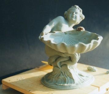 Scultura modellata a tutto tondo in plastilina e realizzata in argento 15 cm x 10 cm. Committente: privato, 2007