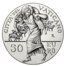 Disegno per il verso della Monetazione Aurea da 50€. Committente: Città del Vaticano, 2016