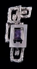Pendentein argento con ametista. Committente privato, 1998