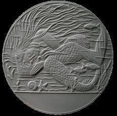 La Sirenetta di Christian Andersen, recto di modello in gesso per la realizzazione di medaglia coniata in argento. Committente: ditta danese, 2010