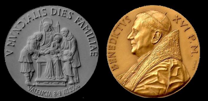 Verso/recto di modello in gesso e medaglia in bronzo coniato, realizzata in occasione del V Incontro Mondiale delle Famiglie a Valencia, in Spagna. Committente: Città del Vaticano, 2006