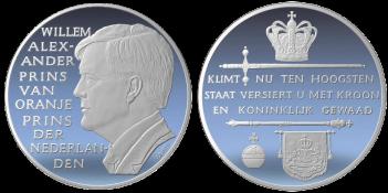 Principe Willem Alexander Van Oranje, recto/verso di medaglia in argento coniato. Committente: ditta olandese, 2009