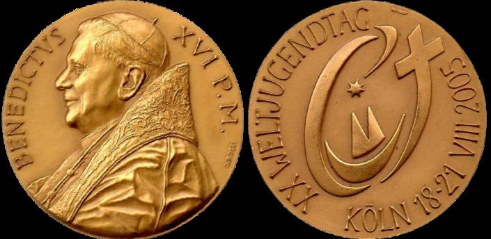Recto/verso di medaglia in bronzo coniato, realizzata in occasione della Giornata Mondiale della Gioventù a Colonia in Germania. Committente: Città del Vaticano, 2005