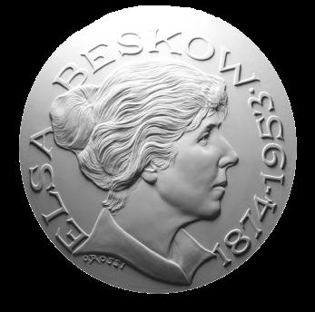 Elsa Beskow, recto di modello in gesso per la realizzazione di medaglia coniata in bronzo e oro. Committente: ditta olandese, 2013