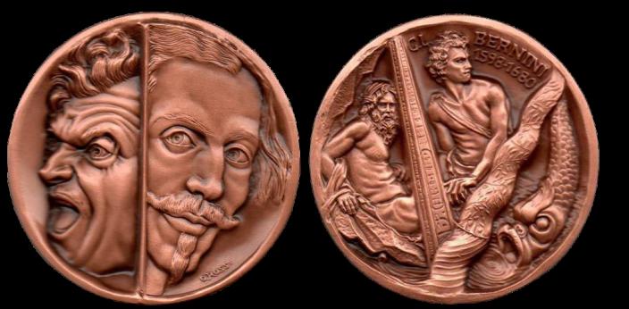 Bernini, autoritratti e particolari di sue opere. Recto/verso di medaglia in bronzo coniato. Committente: ditta privata, 2004