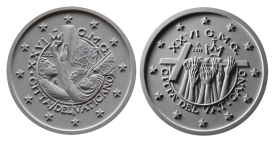 Moneta da 2 € per la giornata mondiale della gioventù, verso di modello in gesso. Committente: Città del Vaticano, 2011