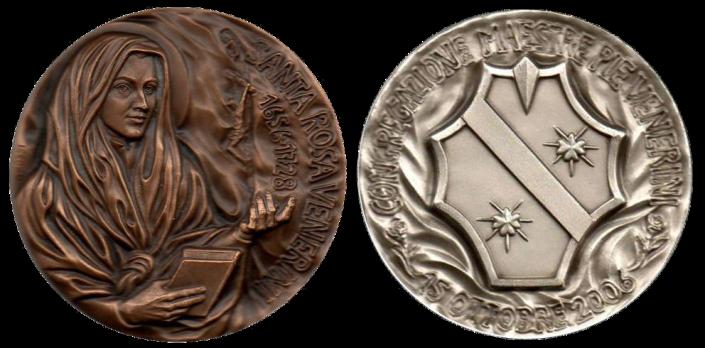 Recto/verso di medaglie in bronzo e argento coniato, realizzate in occasione della canonizazzione di Santa Rosa Venerini. Committente: ditta privata, 2006