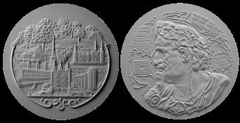 Cristiano IV, recto/verso di modelli in gesso per la realizzazione di medaglia coniata in bronzo e oro. Committente: ditta danese, 2011