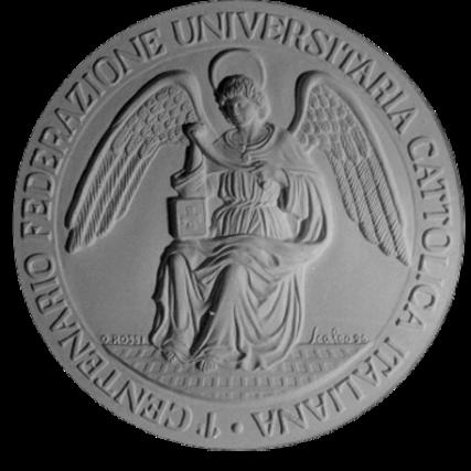 Recto di modello in gesso per la medaglia di bronzo coniato. Commitente: F.U.C.I. Federazione Universitaria Cattolica Italiana, 1996