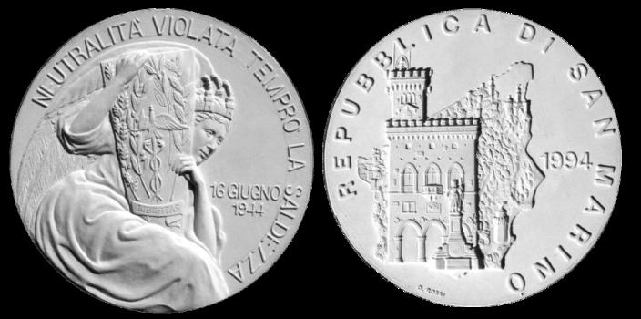 Recto/verso di modello in gesso, realizzato per la Repubblica di San Marino, 1994