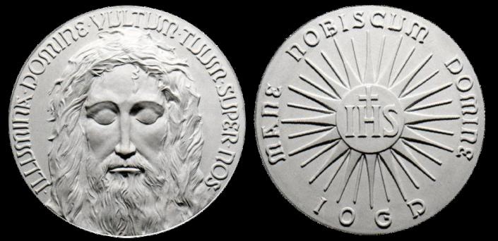 Recto/verso di modello in gesso per medaglie di bronzo. Commitente privato, 2005
