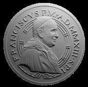 Monetazione Aurea da 50 €, recto di modello in gesso. Committente: Città del Vaticano, 2013