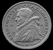 Monetazione Aurea da 50 €, recto di modello in gesso. Committente: Città del Vaticano, 2013. Non coniata