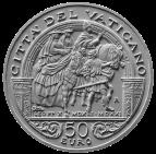 Monetazione Aurea da 50 €, verso di modello in gesso. Committente: Città del Vaticano, 2013