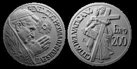 Monetazione Aurea da 200 €, recto/verso di modello in gesso. Committente: Città del Vaticano, 2012
