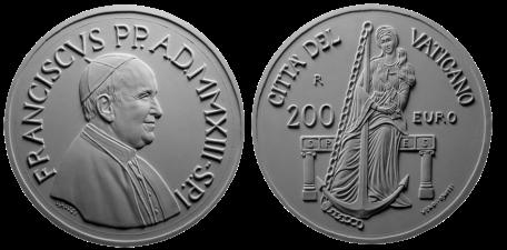 Monetazione Aurea da 200 €, recto/verso di modello in gesso. Committente: Città del Vaticano, 2013. Realizzata in collaborazione con Guido Veroi