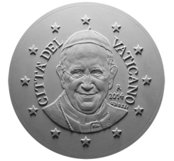 Monetazione divisionale 2014, recto di modello in gesso per i 50 centesimi. Committente: Città del Vaticano, 2013