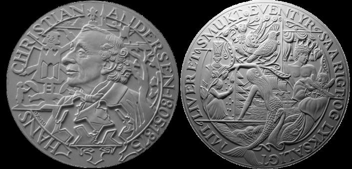 Le fiabe di Christian Andersen, recto/verso di modelli in gesso per la realizzazione di medaglia coniata in bronzo e oro. Committente: ditta danese, 2010