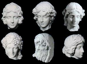 Teste a tutto tondo modellate in plastilina e realizzate in resina finto marmo (realizzate in collaborazione). Committente: ProLoco Città d'Anzio, 2001