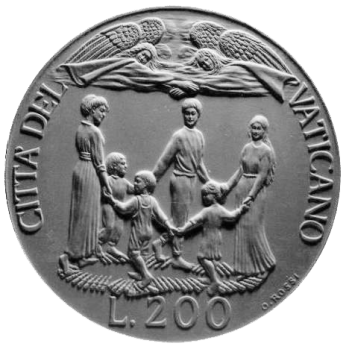 Moneta da Lire 200, monetazione ordinaria, recto di modello in gesso. Committente: Città del Vaticano, 1997