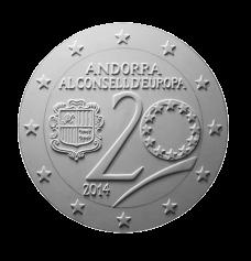 Moneta da 2€, recto di modello in gesso. Committente: Principato D'Andorra, 2014
