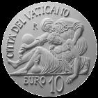 Moneta da 10€, verso di modello in gesso. Committente: Città del Vaticano, 2014