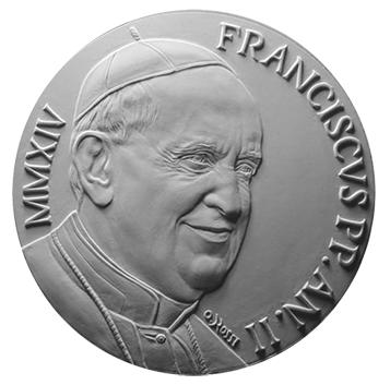 Moneta da 10€, recto di modello in gesso. Committente: Città del Vaticano, 2014