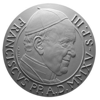 Monetazione Aurea da 100 €, recto di modello in gesso. Committente: Città del Vaticano, 2015.